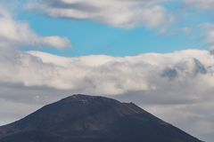 View of the Vesuvius volcano and Mount Somma taken from the square of San Martino royalty free stock photo