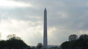 Cloudy Washington Monument stock footage