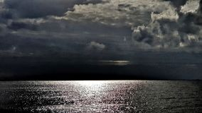 Cloudy weather above the Dutch lake of Marken royalty free stock image
