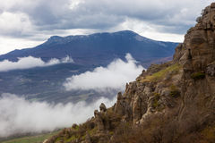 Cloudy weather in the Crimean mountains Stock Photo