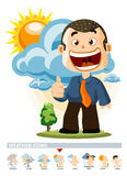Cloudy. Weather Icon. With People illustration in Detailed Vector Royalty Free Stock Photography