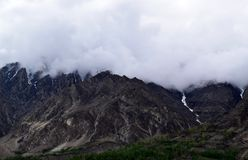 Mountains landscape in cloudy day. Cloudy weather in the mountains royalty free stock photography