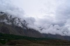 Mountains landscape in cloudy day. Cloudy weather in the mountains royalty free stock photo