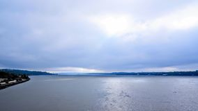 Cloudy weather over the St. Lawrence River. Before a storm Quebec Canada stock photo
