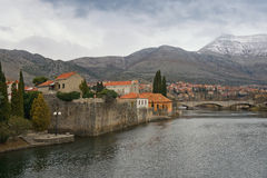 Cloudy winter day. View of Trebisnjica river near Old Town of Trebinje. Bosnia and Herzegovina Stock Photography