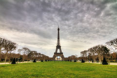 Cloudy winter Eiffel tower Stock Images