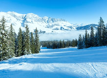Cloudy winter mountain landscape (Austria) Royalty Free Stock Images