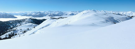 Cloudy winter mountain landscape Royalty Free Stock Photo