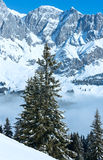 Cloudy winter mountain landscape Stock Photos