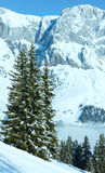Cloudy winter mountain landscape Royalty Free Stock Images