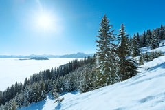 Cloudy winter mountain landscape Royalty Free Stock Photography