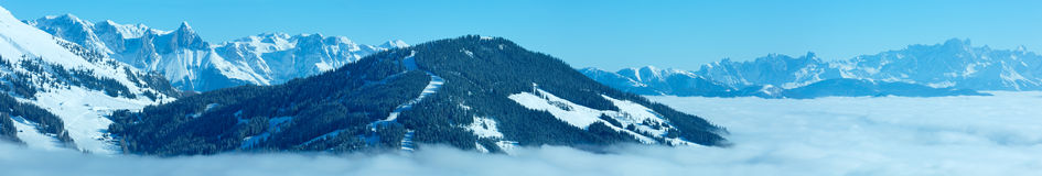 Cloudy winter mountain panorama (Hochkoenig region, Austria). Royalty Free Stock Photography