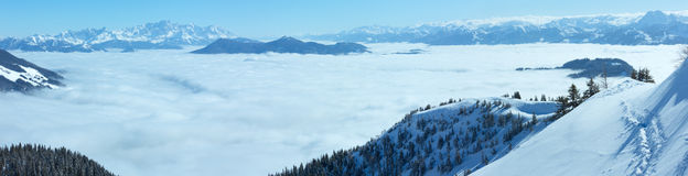 Cloudy winter mountain panorama. Royalty Free Stock Image
