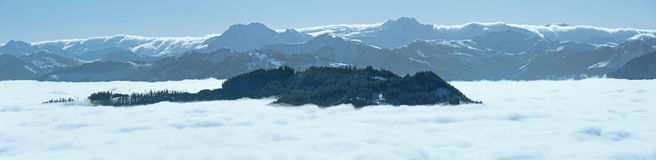 Cloudy winter mountain panorama. Stock Photography