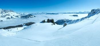 Cloudy winter mountain panorama. Ski resort. All people are not Stock Photo
