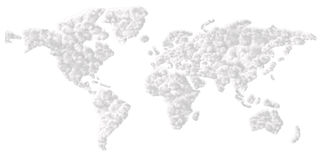 Cloudy world. World map made from clouds on white background Royalty Free Stock Photos