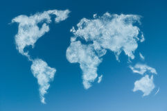 Cloudy world map Stock Photos