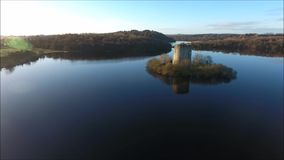 Clough Oughter Castle. Cavan. Ireland. Aerial view. Ruins of Cloughoughter castle. county Cavan. Ireland stock video footage