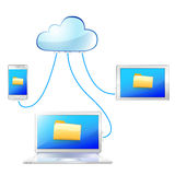 Clould transmit file to computer Royalty Free Stock Photos