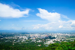 The clound above Chiangmai city with nice sky. The environment at chiangmai city with a good sunny ray along the cloud on the sky. the culture and traditional Stock Images