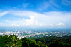 The clound above Chiangmai city with nice sky. The environment at chiangmai city with a good sunny ray along the cloud on the sky. the culture and traditional Royalty Free Stock Images