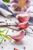 Clous de girofle et ampoules d'ail avec du sel et le poivre de romarin Image libre de droits