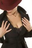 Clous-op van de borst van de vrouw en Stock Afbeelding