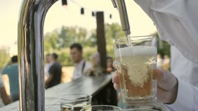Clous-up Bartender pours Cider or Beer on Glass.  stock video footage