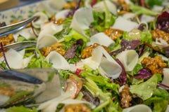Clouse op mening van Gemengde Groene Salade met geitkaas, radijs en noten Zachte nadruk royalty-vrije stock afbeelding