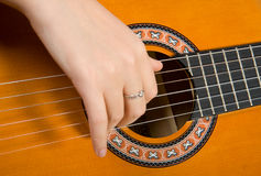Clouse-up acoustic guitar. Royalty Free Stock Photo