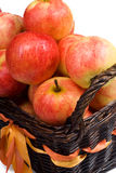 Clouse-up of basket with apples. Clouse-up of basket with red apples on the white background Royalty Free Stock Photography