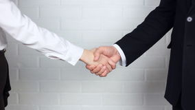 Clouse-up of businessman and  businesswoman shaking hands. In office stock video
