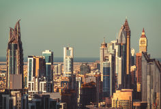 Close-up view of Dubai towers at sunset. Aerial view.  Royalty Free Stock Image