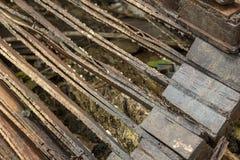 Clouseup dentro das portas da madeira compensada imagem de stock