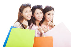 Clouseup of  happy asian shopping women with bags Stock Image
