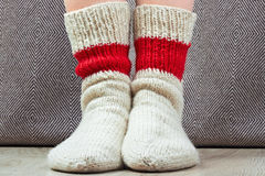 Clouseup pair  wool knitted red and white  socks Stock Photos