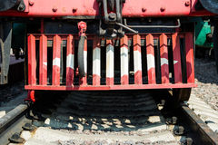 Clouseup view of the rail cleaner, pilot or cow catcher of an ol Stock Photos