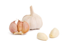 Clove And Bulb Of Garlic On A White Background Royalty Free Stock Images