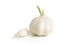 Clove and bulb of garlic Stock Images
