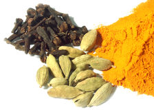 Clove, cardamom seeds with powder turmeric Stock Images
