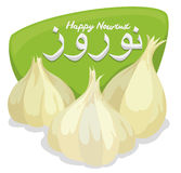 Clove of Garlics with Green Sign for Nowruz, Vector Illustration Royalty Free Stock Photography