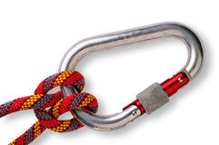 Clove hitch on carabiner. Mountaineering: clove hitch on locking or safety aluminium carabiner with clipping path stock photos