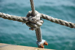 Clove hitch and shroud connection. On old sailing vessel close up Stock Photography