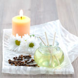 Clove oil. In a bottle decorated Stock Photo