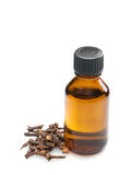 Clove oil. Isolated on white background Stock Photography