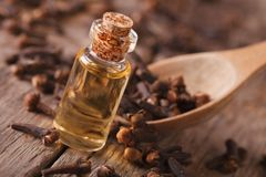 Clove oil in a bottle close-up on the table, rustic Royalty Free Stock Photo