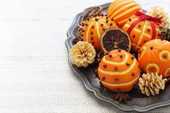 Clove orange pomander balls Stock Photos