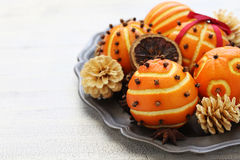 Clove orange pomander balls Royalty Free Stock Photo