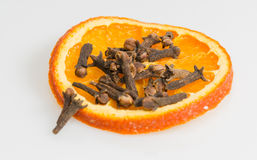 Clove with orange  slice Stock Image