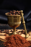 Clove spice seeds and powder. On a black background Royalty Free Stock Image